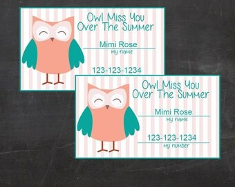 Owl Miss You Over the Summer - Kids Calling Cards, Info Cards, Contact cards  - Instant Download