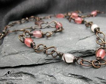 Handmade Rose and Cherry Quartz Copper Necklace