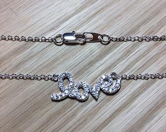 "Rhodium Plated CZ Script ""love"" Bracelet, Necklace or Anklet"