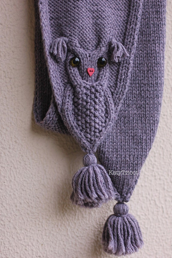 OWL WAYS Scarf Knitting Pattern from KatyTricot on Etsy Studio