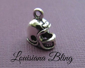10 pieces Football Helmet Pendant Charm Double Sided 10x10mm Antique Silver Finish 9-17-S