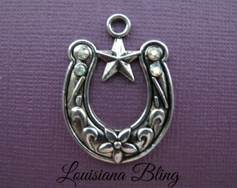 4 Pieces Horseshoe With Star and Rhinestone Accents 37x27mm Antique Silver Finish, horseshoe charms, 11-9-AB