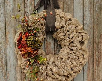 Autumn Peony Wreath--Fall Burlap Wreath--Fall Grapevine Wreath--Fall Rattan Wreath--Fall Burlap Wreath with Peony Flowers--Autumn Wreath