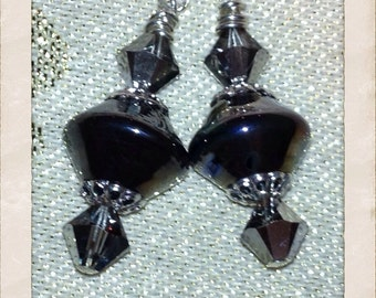 Gunmetal Bicone Earrings