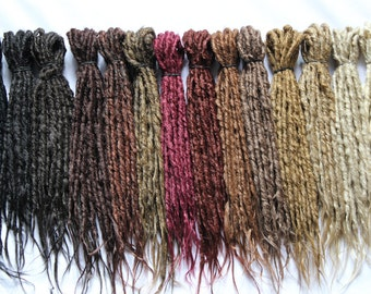 Synthetics Dreads Double Ended Natural looking- Sold by 10 - NATURAL COLOR-  15-17 inches lenght - Medium thickness