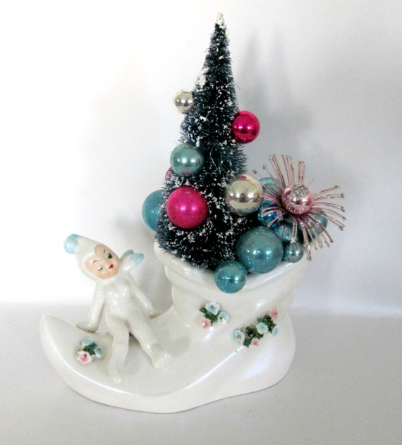 Upcycled Vintage Christmas Planter 1960's Lefton Pixie