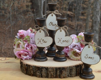 family unity candle holders, rustic wedding unity candle set, burlap wedding decor, family set