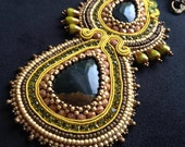 Bead Embroidery and Soutache Necklace.Unique hand made jewelry with Jasper.Green-brown-bronze colours.OOAK