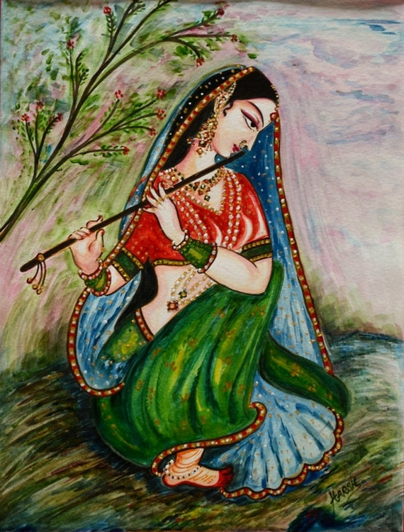 Items similar to flute playing original painting rajasthani colorful interior decoration Home decor paintings for sale india