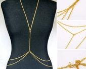Crossover Body Jewelry Necklace Bikini ClubWear Goldtone Chain