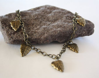 bronze leaf necklace - womens handmade jewelry - handmade christmas gift for her - valentines day - travelers tree canadian