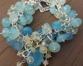Blue Chalcedony Gemstones with Ethiopian Opal Waterfall Center Bracelet in Sterling Silver