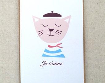 Je t'aime-cat-love-romantic, Cat, beret, Je t'aime card