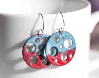 Funky Earrings, Enamel Earrings, Artsy Earrings, Copper Enamel, Movie Reel, Red White Blue Earrings, Sterling Silver Wires, Drop Earrings
