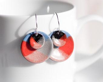 Enamel Disc Earrings, Red Orange Blue Cream, Handmade Earrings, Copper Glass Jewelry, Unique Sterling Silver Ear Wires, Torch Fired Enamel