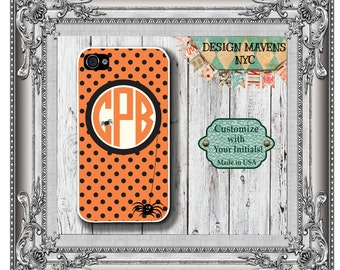 Halloween Spider Monogram iPhone Case, Personalized iPhone Case, iPhone 4, iPhone 4s, iPhone 5, 5s, 5c, iPhone 6, Phone Cover, Phone Case