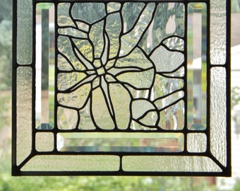 Stained Glass Panel Clear Textured Glass Flower Blossom