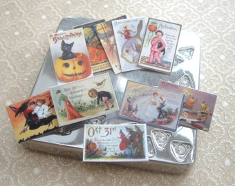 dollhouse halloween postcards x 10 vintage themed for miniature dollhouse displays 12th scale miniature