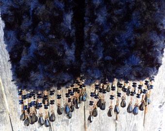 Faux Fur Winter Scarf - Black Fur - Beaded Trim