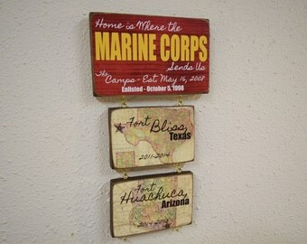 US Marines, Marine Corps, Home is Where the, Military Gift, Marine Sign, USMC, Military Home Sign, Marine Corps Gift, License Number 11626
