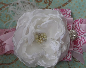Smiling Princess by Aldona's Boutique, White and Pink Over the top headband, Baby Girl Hair Accessory, Children Accessory, Baby Photo Prop