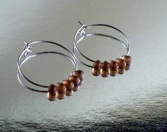 Smokey Quarts Glass Teardrop  Bead And Stainless Steel Hoop Earrings