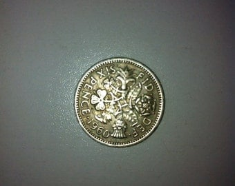 1960 Wedding Sixpence Coin - Lucky Wedding Sixpence for the Bride