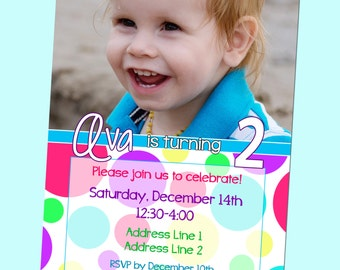 Girly Polka Dot Birthday Invitation - With Photo - Printable - 5x7