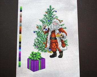 "Painted Needlepoint, Christmas Needlepoint, Xmas Santa Needlepoint, Needlepoint Santas, ""Trimming The Tree"", Needlepoint Canvas Designs,"