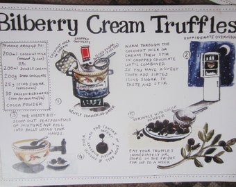 Bilberry Illustrated recipe / greetings cards with envelope