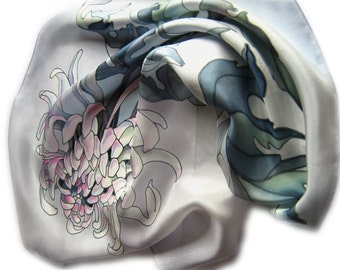 """Hand painted silk scarf """"Chrysanthemum"""" . Gray and silver. Ready for shipment"""