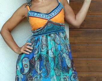 BIG SALE M Romantic summer India sari dress hippie boho