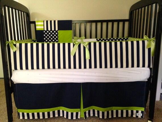 Items Similar To Baby Boy Crib Bedding-Navy, Lime, Modern On Etsy
