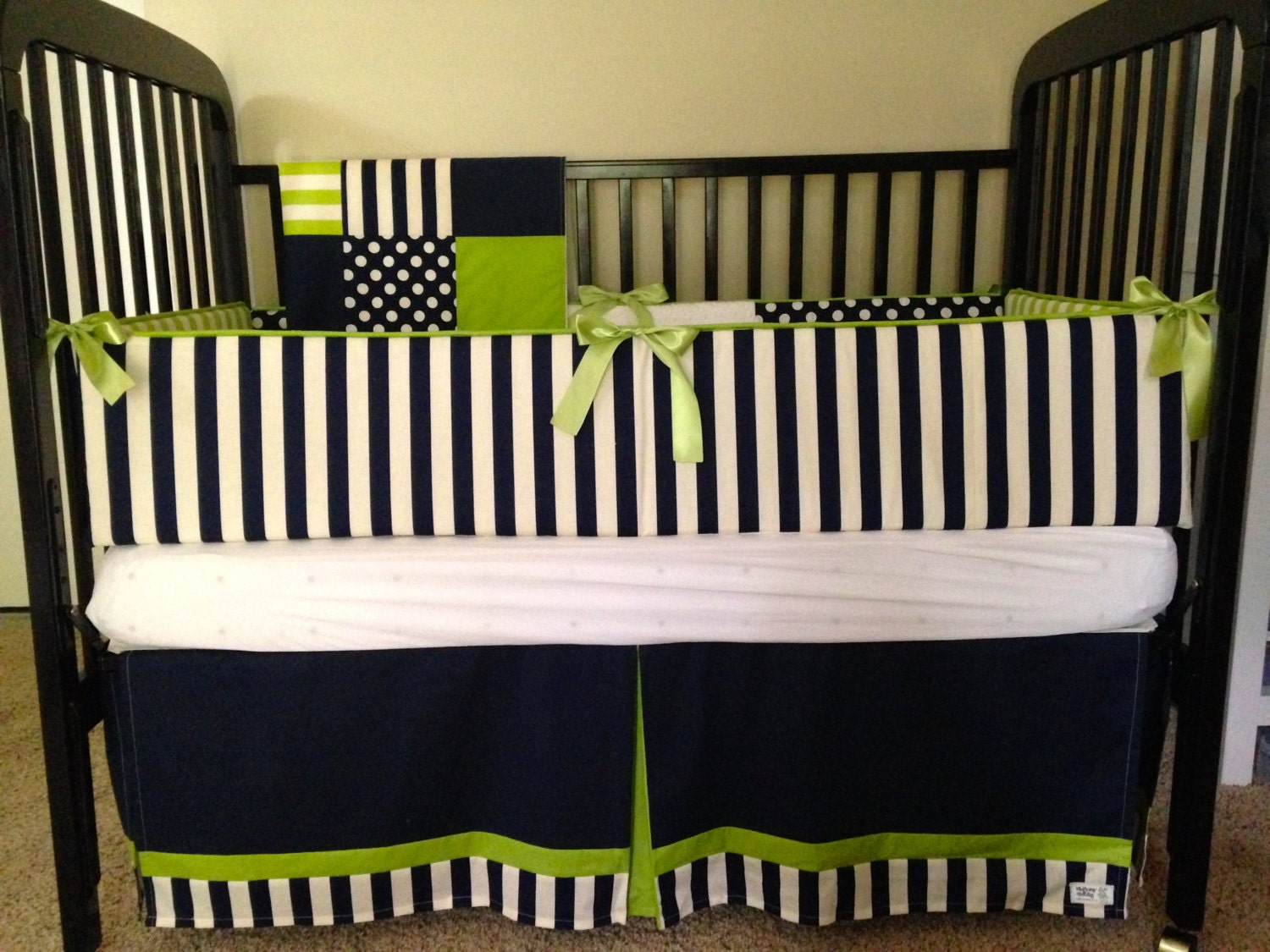 Baby Boy Crib Bedding Navy Lime Modern By Wildflowerquilting
