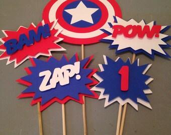 Captain America Centerpiece, 5 pc, Superhero party, Batman  Party, Batman  Birthday Party
