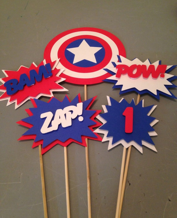 Captain america centerpiece 5 pc superhero party batman for B day decoration ideas