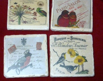 Travertine Coasters - Stone Coasters -  Vintage French Postcards - Birds - set of 4 marble coasters -Vintage French advertising.