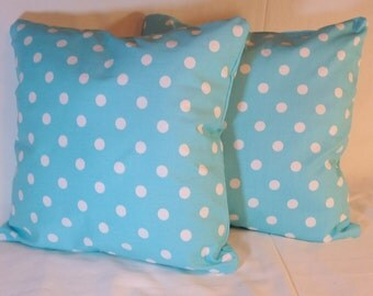 Pillow Covers -Accent pillows -  Premier Prints Polka Dot Twill  - Girly Blue and White -Throw Pillow - 18 x 18 Set of 2