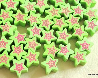 Green Wood Star Beads x 10