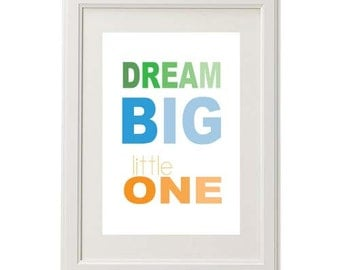 "8x10 or 11x14 ""Dream Big Little One"" Ombré Nursery Art Print"