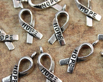 Bulk 40 Hope Breast Cancer Ribbon Awareness Charms Hope Ribbon Pendants Antiqued Silver Tone Wholesale Lot 7 x 15 mm