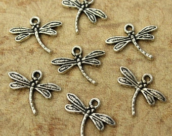 20 Dragonfly Charms Dragonfly Pendants Antiqued Silver Tone 12 x 18 mm