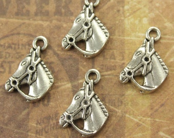 10 Tiny Horse Head Charms Horse Head  Pendants Antiqued Silver Tone 12 x 14 mm