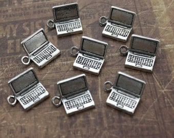 10 Laptop Charms Laptop Pendants Antiqued Silver Tone 3D 15 x 12 mm