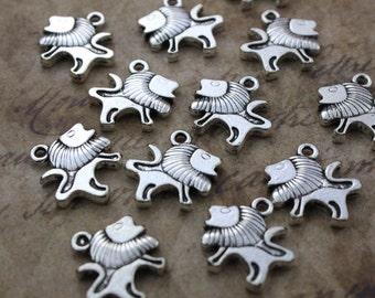 Bulk 30 Lion Charms Lion Pendants Antiqued Silver Tone Double Sided Wholesale Lot 15 x 15 mm