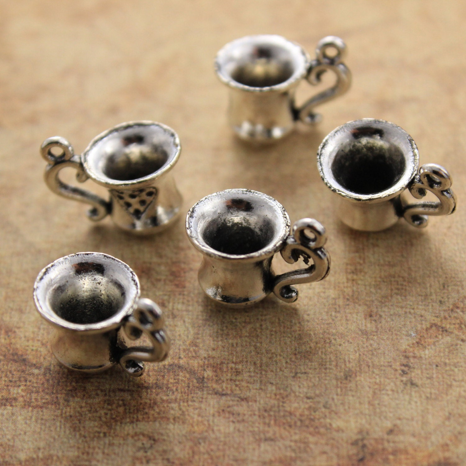 10 Coffee Cup Charms Tea Cup Charms Antiqued Silver Tone 3D 10 - photo#48