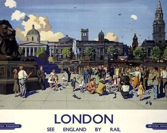 Art Print London Trafalgar Square Pigeons Railway Poster Print, 1950s Print 8 x 10