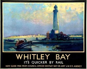 Art Print Whitley Bay Lighthouse, Northumberland, England, Travel Poster Print 8 x 10