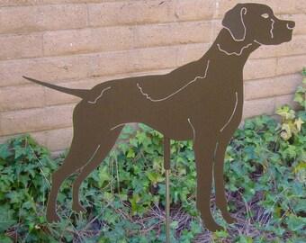 Pointer Garden Stake, Pet Memorial, Ornament, Steel Yard Art, Dog Breed Specific, Rustic