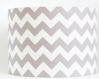 Handmade 40 cm Drum lampshade in Riley Blake's HORIZONTAL chevron grey & white fabric